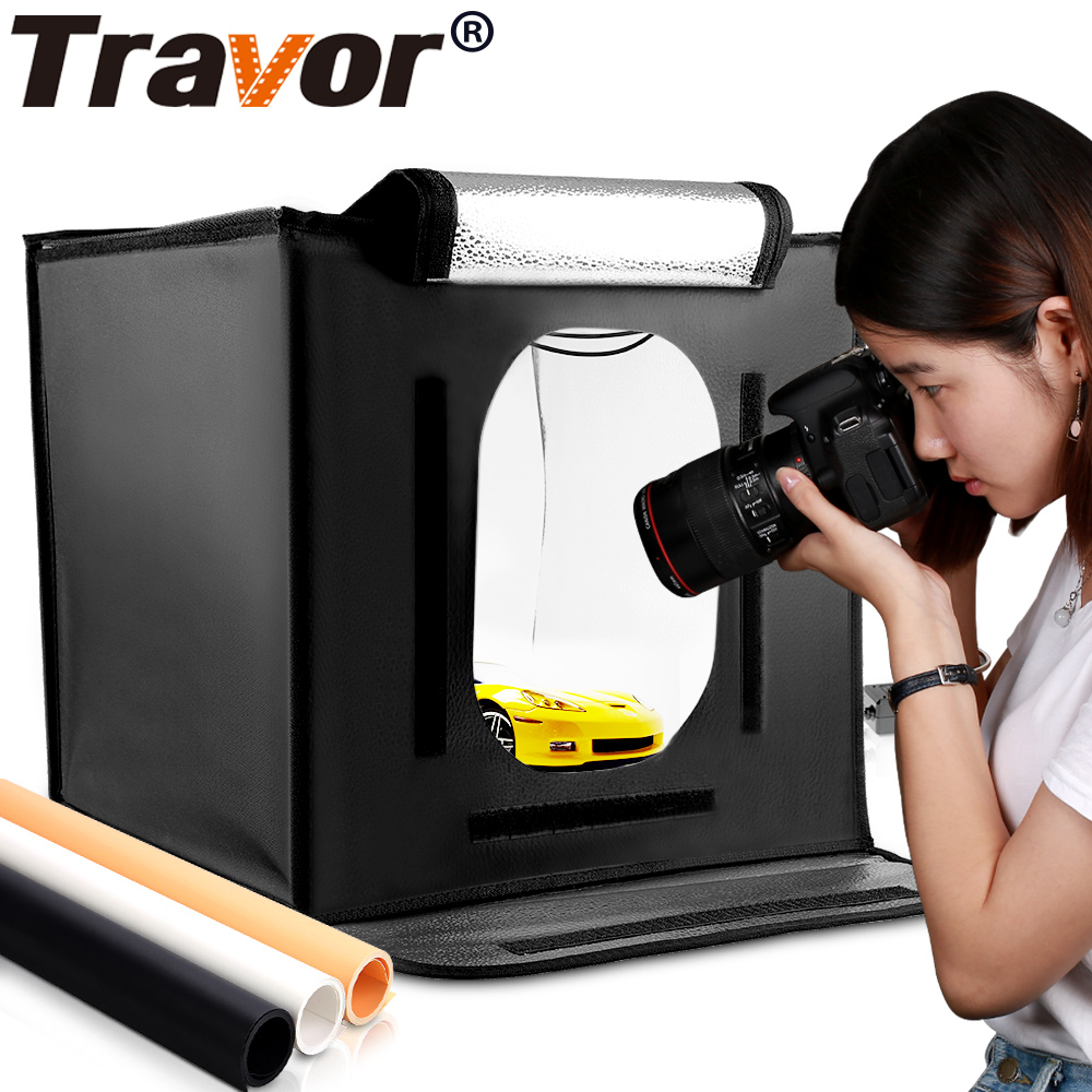 Travor F40 LED Lipat Photo Studio Softbox Lightbox 40 * 40 cahaya Tenda dengan latar belakang putih kuning hitam