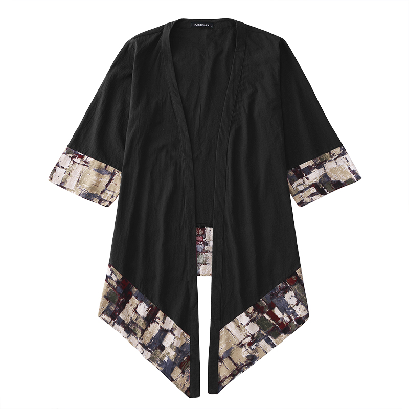 HTB1C7DsavvsK1RjSspdq6AZepXas 2019 Plus Size Fashion Men Long Outwear Shirts Half Sleeve Irregular Chinese Style Retro Male Cloak Coats Stylish Casual Trench