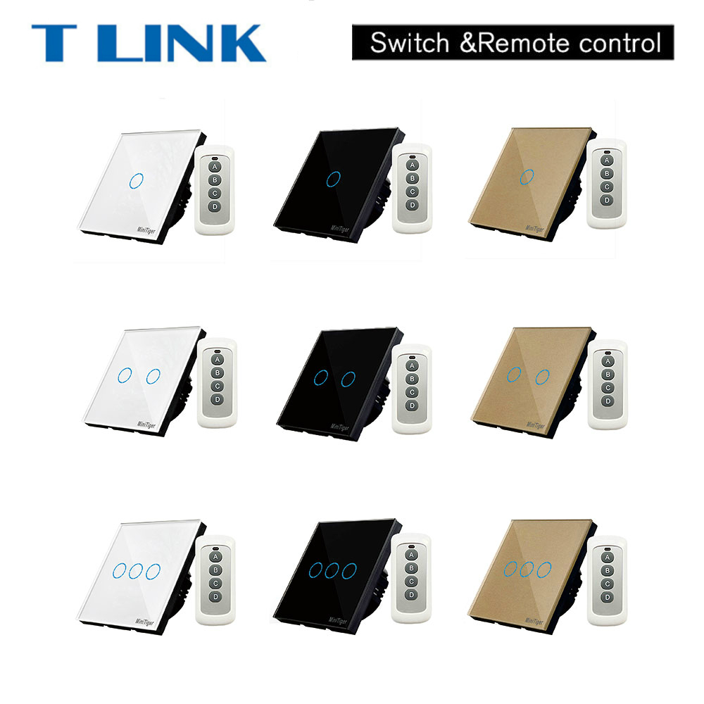 TLINK Wall Light Switch 1 Gang 1 Way SY2-01 Smart Touch switch RF433 Remote Control Crystal Tempered Glass Panel 2017 free shipping smart wall switch crystal glass panel switch us 2 gang remote control touch switch wall light switch for led