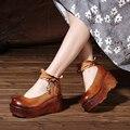 2017 Primavera Cuero Genuino de Las Mujeres Bombas Plataforma Cuñas Zapato con Cierre de Cremallera en la Espalda de Los Pies Redondos de Tacón Alto Zapatos de Las Mujeres