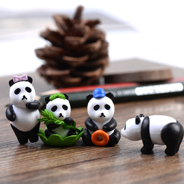 4pcs Animal Panda Figurines Fairy Garden Miniatures Ornament Pot Succulent  Terrarium Bonsai Home Decoration Gnomes Resin