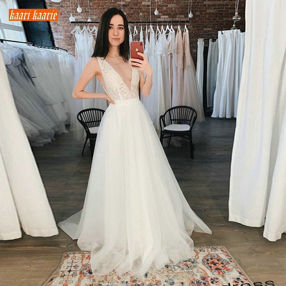 Elegant White Wedding Gowns Long Formal Party 2019 Sexy Ivory Wedding Dress V Neck Tulle Lace
