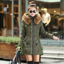 New Winter Women's Jacket Fashion Wadded Jacket Female Long Parka Fur Collar Hooded Down Cotton Coat Plus Size Casual Coat C1151