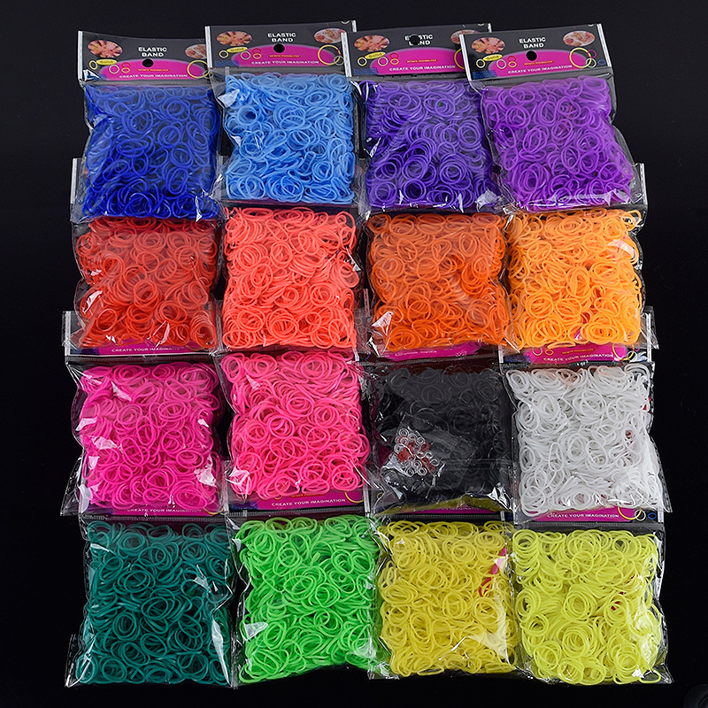 600PCS 16 Color Rainbow Colorful Loom Bracelet Toys For Children Rubber Bands Kits Craft Toy 1 Hook DIY Loom Bracelet Girl Gift