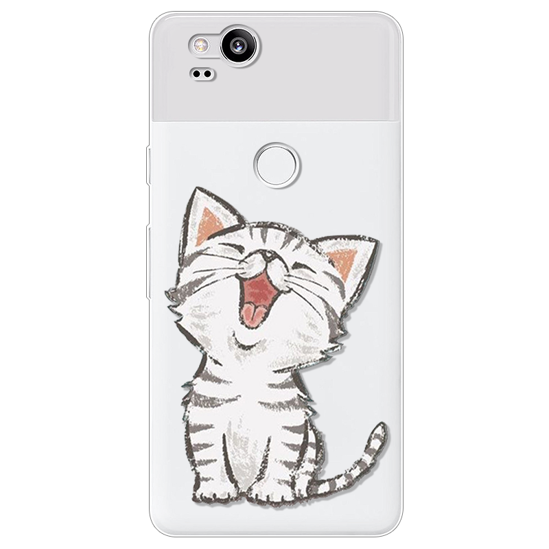 Case Silicone Ultra Thin Soft For Google Pixel 2 Case TPU Rubber Cat Transparent Flower Pineapple Clear Back Cartoon Print Cover