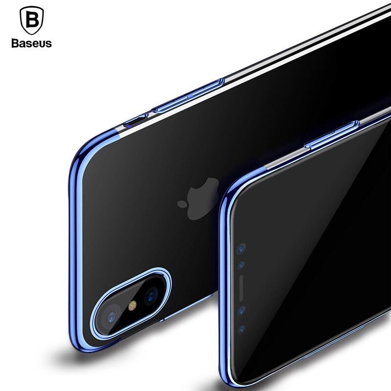 Baseus PC Dur Cas Pour l'iphone X Ultra Mince Glitter Galvanoplastie Capinhas Pour Apple iPhone X Retour Protection Placage Coque