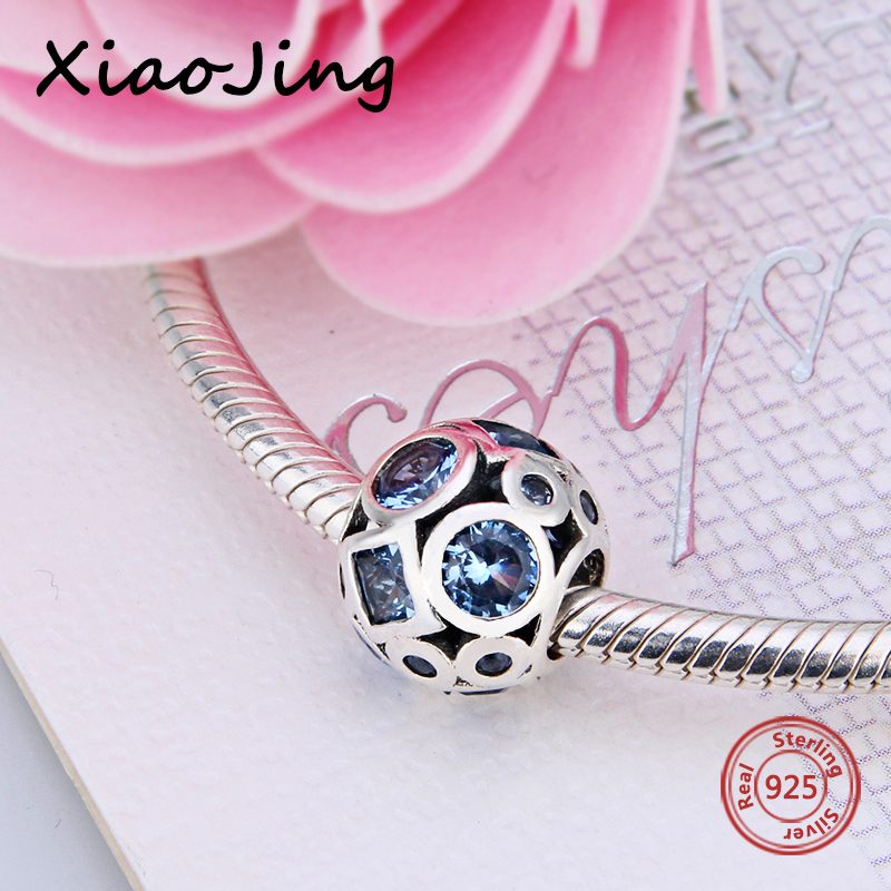 Authentic 925 Sterling Silver Essence Collection Bead Blue CZ Peace Charm Fits Pandora Charms Bracelet