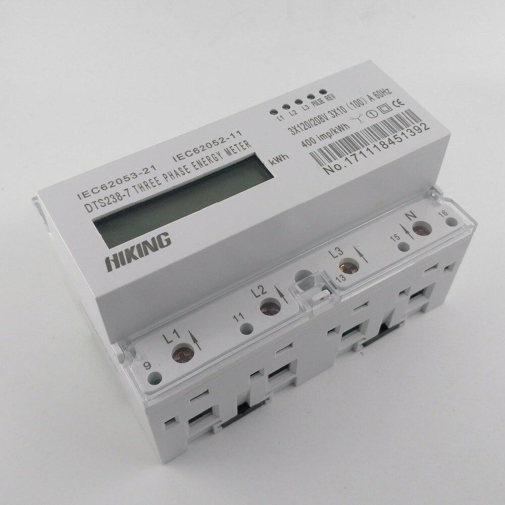 10 (100) UN 3*120 v/208 v 60 hz trifase guida Din KWH Watt ora din-rail contatore di energia LCD