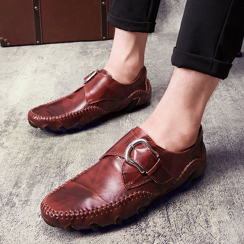LAISUMK Fashion Autumn Style Soft Moccasins Men Loafers High Quality Genuine Leather Shoes Men Flats in Men 39 s Casual Shoes from Shoes