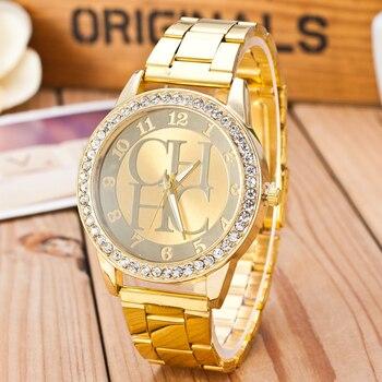 cd1f2568794 2019 nueva moda mujer relojes reloj de cuarzo relojes de lujo de cristal de  oro pulsera Acero inoxidable Relogio femenino caliente
