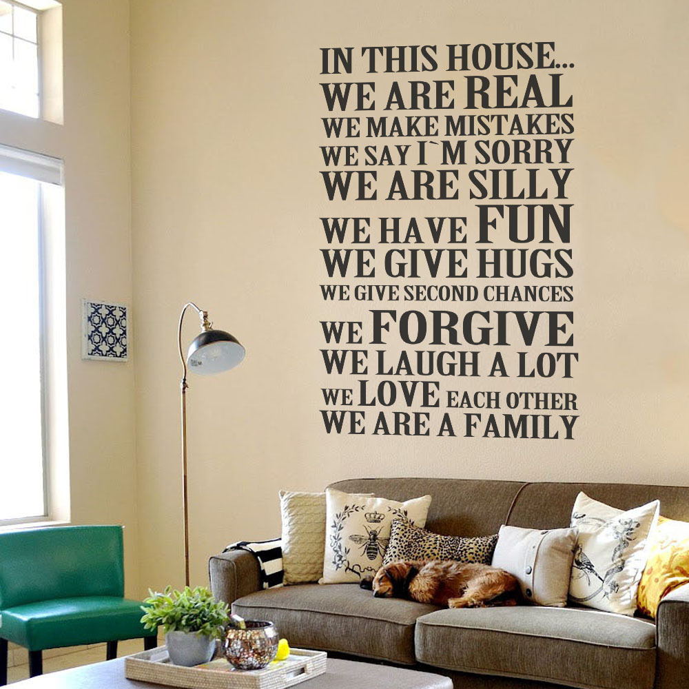In This House We Are Real We Love Each Other - Family House Rules Quote Vinyl Wall Decal Sticker 22 x 33 S