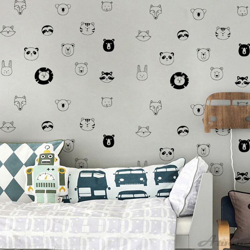 YQT076 Creative Animal Lion Tiger Head Wall Sticker Wallpaper Furniture Cabinets Decal Kid baby Room Home Decor