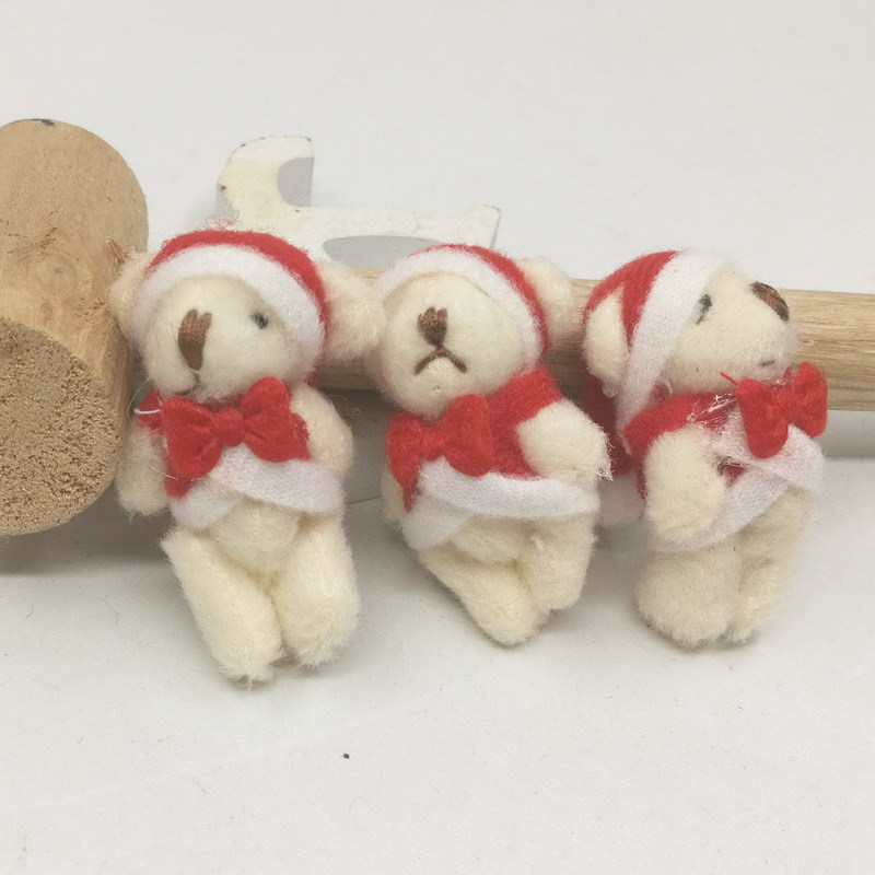 Mini Jointed Christmas Bear Dolls Cute Small Cartoon Joint Teddy Bear Dolls Keg Bag Phone Pendants Promotional Gift 4.5cm 100pcslot (6)