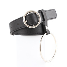 Women Waist Belt Lovely Womens Big Ring Decorated Belts Female Hot Newest Design Fashion Gold Pin Buckle Solid PU Leather Strap