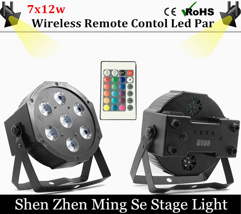 Fast shipping 7x12w Wireless Remote  led Par lights  RGBW 4in1 flat par led dmx512  disco lights professional stage dj equipment 2pcs dj disco par led 54x3w stage light dmx strobe flat luces discoteca party lights laser rgbw luz de projector lumiere control
