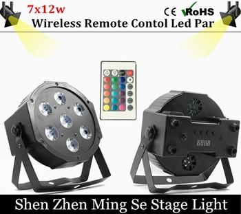 Быстрая доставка 7x12 w беспроводной пульт дистанционного led par свет rgbw 4in1 плоским пар led dmx512 диско свет профессиональный этап dj оборудование