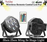 Fast Shipping 7x12w Wireless Remote Led Par Lights RGBW 4in1 Flat Par Led Dmx512 Disco Lights