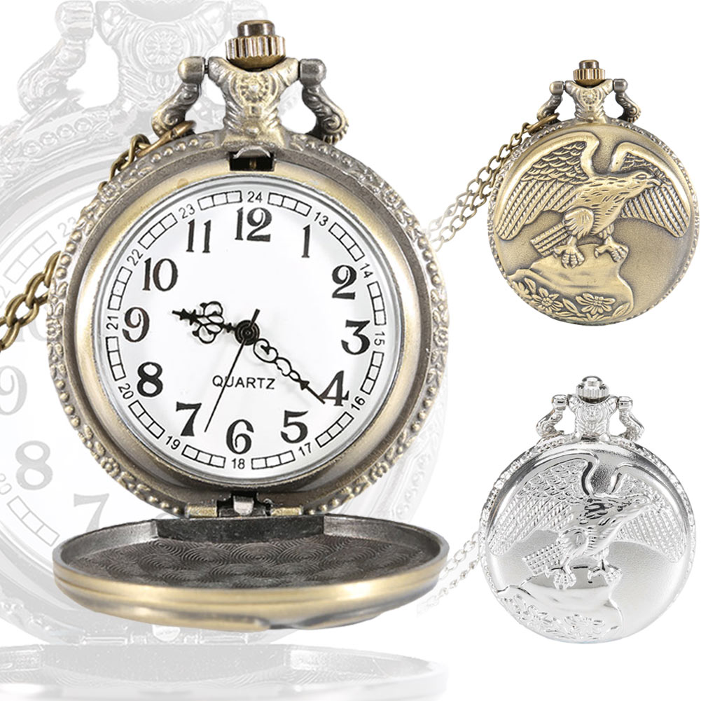 Vintage Jewelry Antique Eagle Wings Quartz Pocket Watch Necklace Pendant Chain Clock Gift LXH retro steampunk bronze pocket watch eagle wings hollow quartz fob watch necklace pendant chain antique clock men women gift