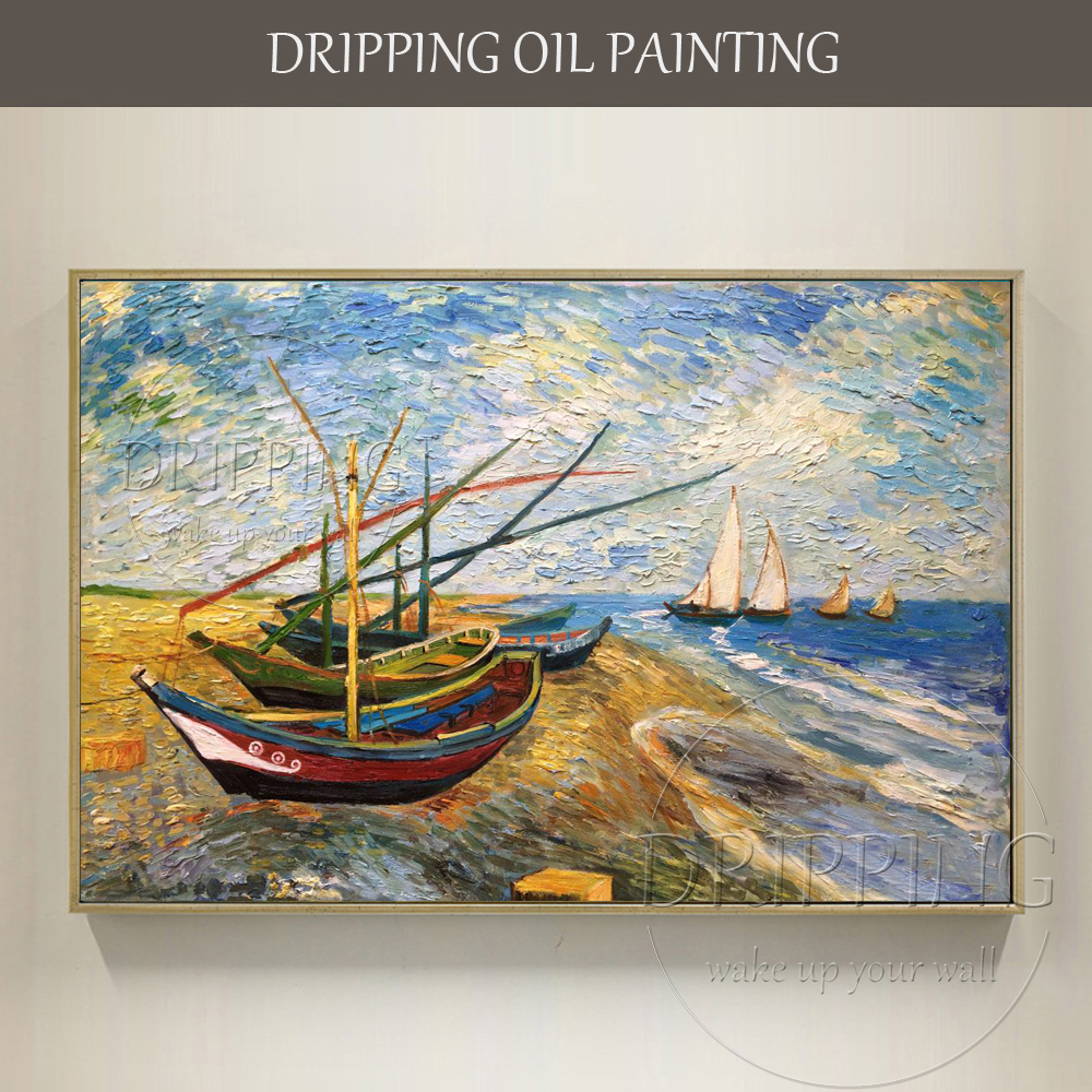 Artist Hand-painted High Quality Impressionist Fishing Oil Painting <font><b>Knife</b></font> Landscape Painting <font><b>Boat</b></font> Fishing Painting for Wall Art image