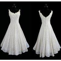 50s Vintage Lace Wedding Dresses Tea Length Scoop Neck Sleeveless A Line Short Bridal Gowns Vestidos