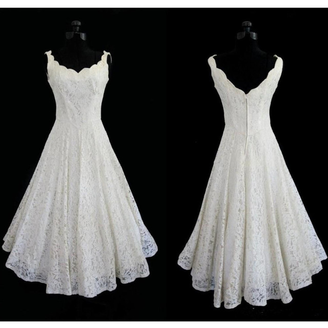 50s Vintage Lace Wedding Dresses Tea Length Scoop Neck Sleeveless A Line Short Bridal Gowns Vestidos
