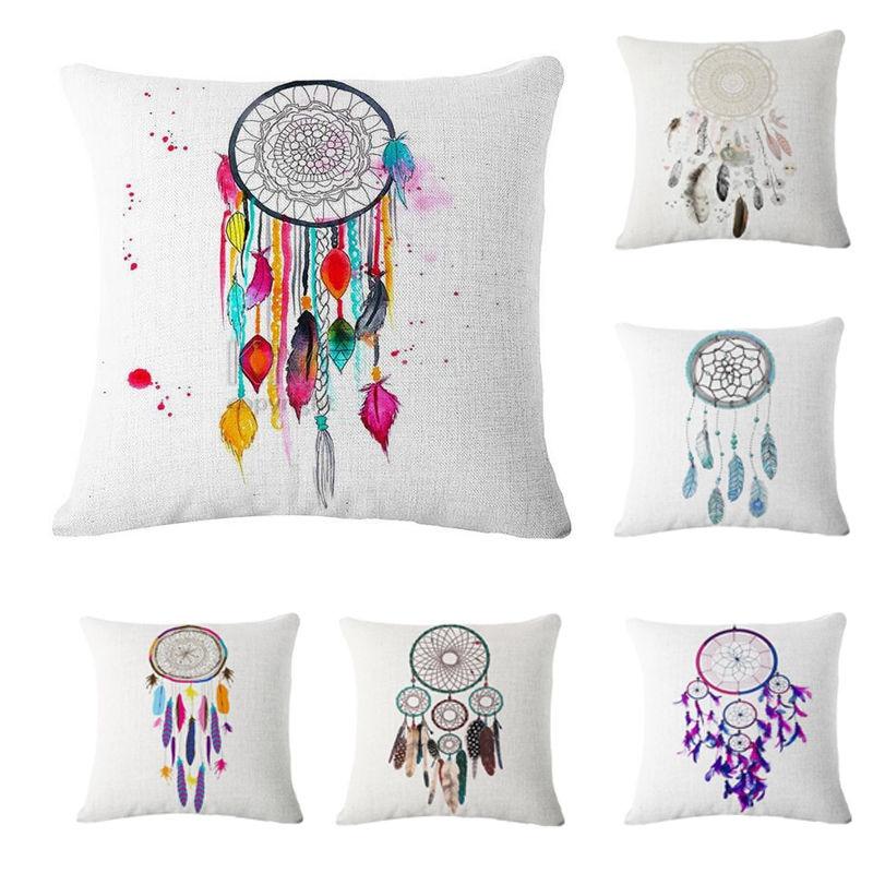 45*45CM Cotton Linen Indian Style Dream Catcher Throw Pillow Case Cushion Cover Throw Pillow Cover Sofa Bed Car Home Decor