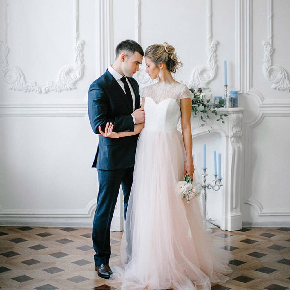 Light Pink Wedding Gown: Blush Pink Lace Light Wedding Dress Tulle Boho Bridal Gown