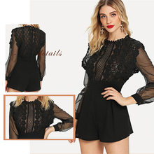 цены Pretty Floral Sexy Lace Applique See Through Bodice Romper Women Black Playsuit Elegant Mesh Long Sleeve Rompers Womens Playsuit