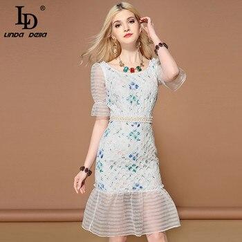 69e9cbbcc LD LINDA DELLA Moda de primavera pista vestidos Maxi de manga larga de las mujeres  elegante cinturón dividir Vintage Casual larga impresión Floral vestido