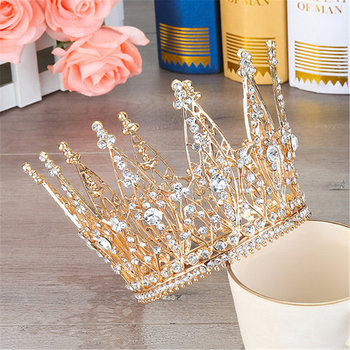 Fashion Pageant Bride Tiara Rhinestone Crown hair accessories Wedding hair jewelry Show dress Headdress Queen Diadem Prom 1