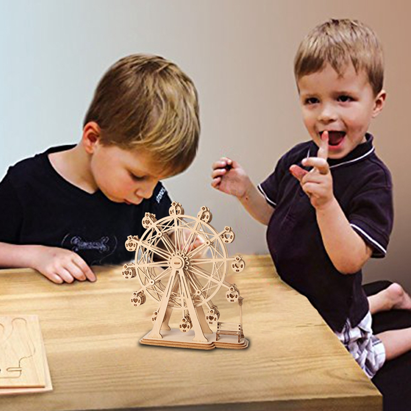 Image 5 - Robud 3D DIY Craft Ferris Wheel Puzzle Game Wooden Model Building Kits Popular Educational Toys Gifts for Children Adult TG-in Puzzles from Toys & Hobbies