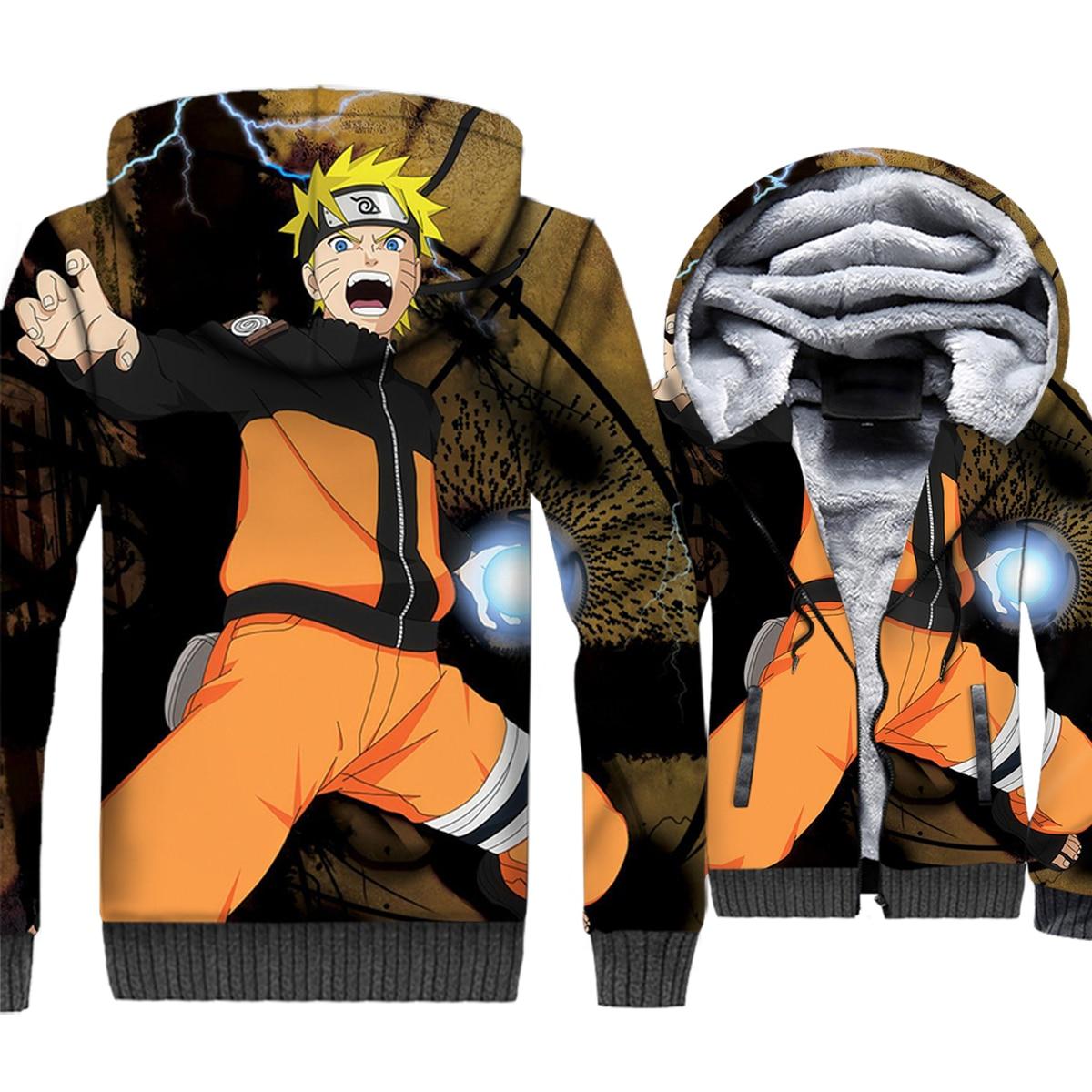 Naruto Uzumaki 3D Hoodies Men Japan Anime Harajuku Sweatshirt Winter Thick Fleece Zipper Coat Hipster Jacket Hip Hop Streetwear