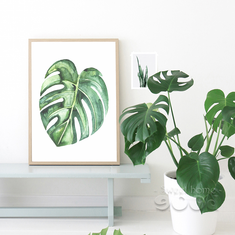 Watercolor Tropical Plant Leaves Canvas Art Print Poster