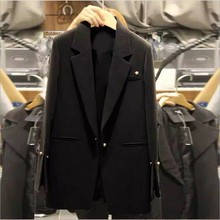 Black Blazer Women Long Elegant Womens Blazers Sleeve Ladies Jackets And Formal Woman Pearl Button