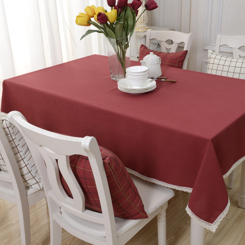 Pastoral Style Solid Table Linen Cloth Home Living Room Tablecloth Wedding Lace Decoration Tea