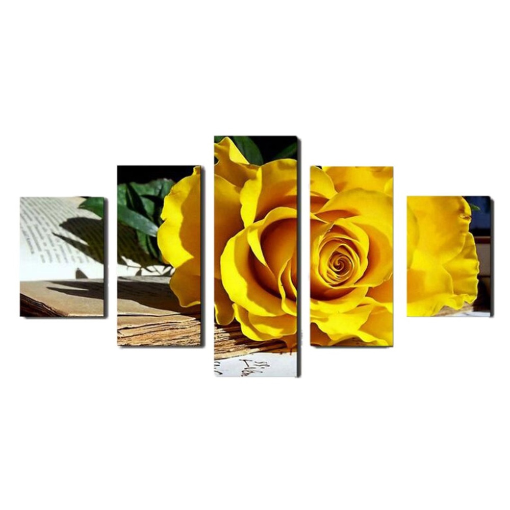 No Frame)5 Panel Beautiful yellow roses oil painting on canvas ...