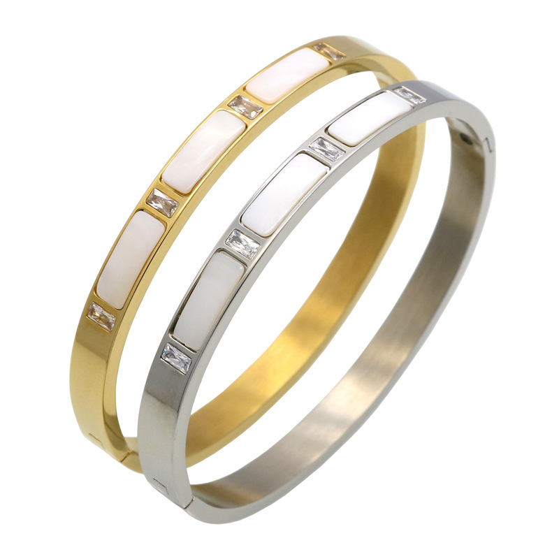 Roman Letter Crystal Bangle For Women Jewelry pulseiras joyas Real Gold Plated Stainless Steel Natural Shell