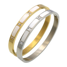 Roman Letter Crystal Bangle For Women Jewelry pulseiras joyas Real Gold Plated Stainless Steel Natural Shell Bracelets Bangles