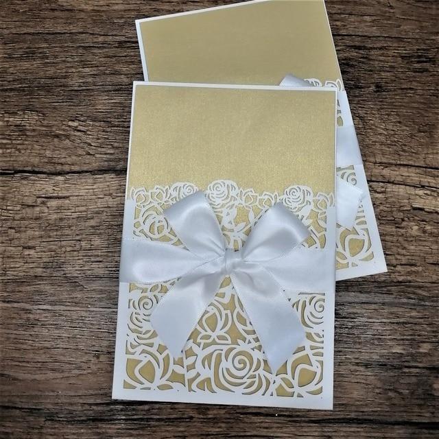 Laser Cut Rose Invitation Cards Pocket Style Various Color Wedding