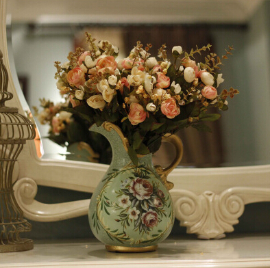 European-style hand-painted ceramic pottery vases American country decorative flower garden flower vase vase