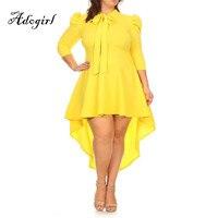 Adogirl New Women Spring Plus Sizes 3XL 4XL 5XL Casual Asymmetrical Maxi Dress Fashion Solid Puff
