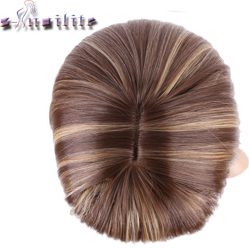 S-Noilite 100% Real Natural Hair Straight Ljusbrunt Blont Blandning - Syntetiskt hår - Foto 2