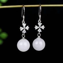 Drop Shipping Real 925 Sterling Silver Jade Drop Earrings Ear Pin Natural Round Stone Handmade  For Women Wedding Earrings недорого