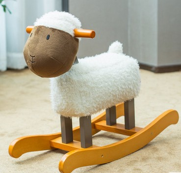 Childrens toys lamb shaking horse solid wood joystick horse racing horse toys rocking ch ...