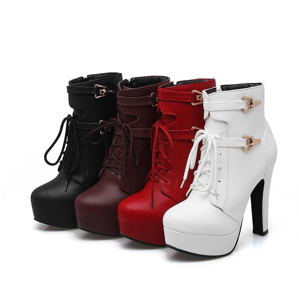 4b83e9c2b8c ... KARINLUNA 2018 г. Большой Размеры 33-43 ботильоны женская обувь на  платформе модная ...