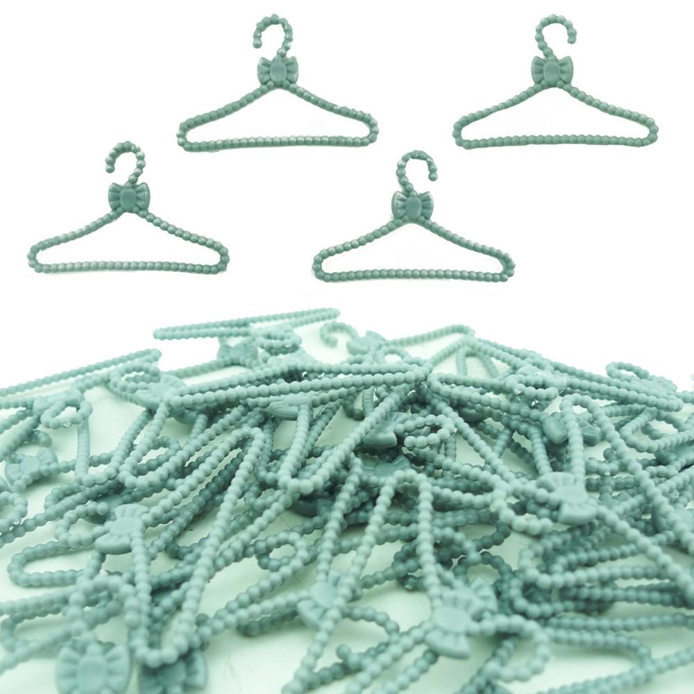 20 Pcs Cute Dress Clothes Racks Wardrobe Bedroom Accessories Gray Bow Hangers For Barbie Doll Dollhouse Play House