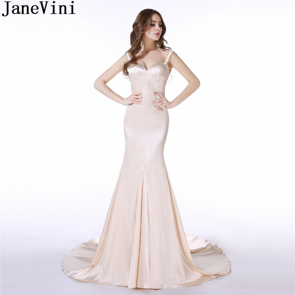 JaneVini Light Champagne Beaded Long   Bridesmaids     Dresses   For Wedding Party For Woman Pearls Mermaid Backless Prom Gala Gown 2018