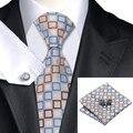 Laço dos homens Bege Azul Marrom Xadrez Gravata Para Os Homens Abotoaduras Lenço Definir Fontes da Festa de Casamento Negócios Gravata Set C-1107