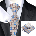 Mens Tie Beige Blue Brown Plaid Tie For Men Hanky Cufflinks Set Business Wedding Party Supplies Necktie Set C-1107