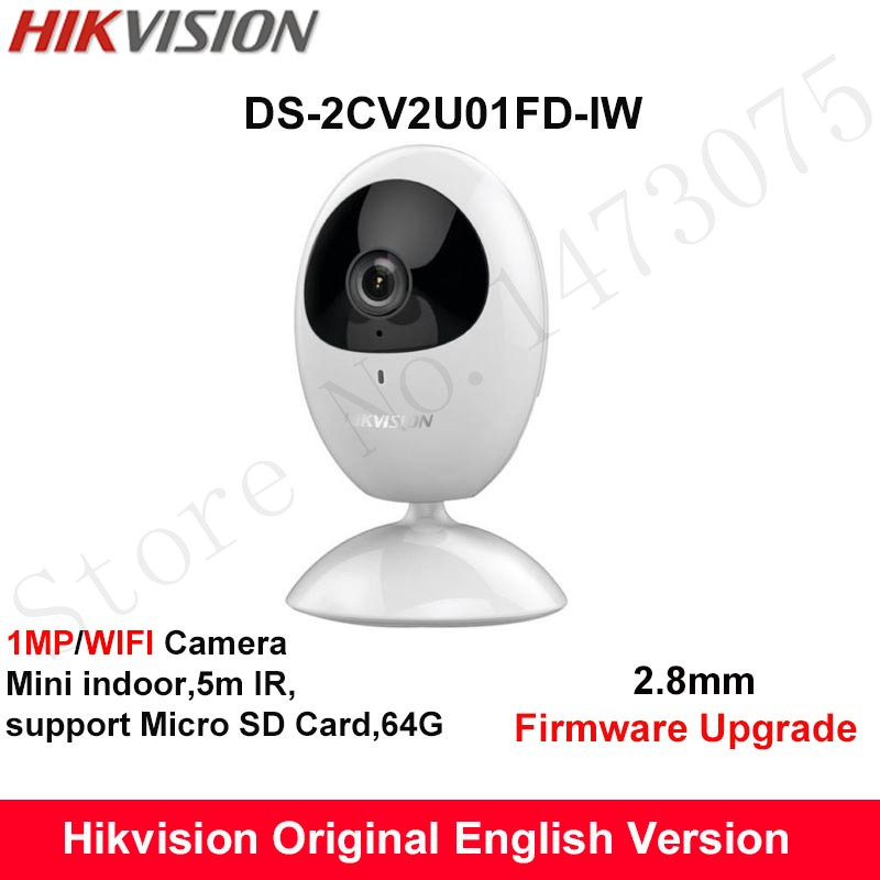все цены на In Stock Hikvision Mini wifi Camera 720P 5m IR built in microphone and speaker SD card 64G Home Security Camera DS-2CV2U01FD-IW
